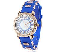quartzo analógico diamante capa de silicone banda relógio de pulso das mulheres (cores sortidas)