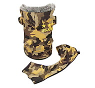 Dog Coat Green / Yellow Dog Clothes Winter Camouflage