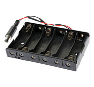6 x AA Battery Case with DC2.1 Power Jack for (For Arduino) - Black