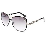 Women's Gradient Gray Lens Black & Gold Frame UV400 Protection Butterfly Sunglasses