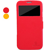 For Samsung Galaxy Case with Windows / Flip Case Full Body Case Solid Color PU Leather Samsung Mega