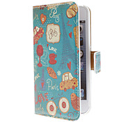 Cute Daily Use Pattern PU Full Body Case with Card Slot and PC Back Cover insight for iPhone 5/5S