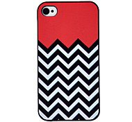 Black and White Waves Coloured Drawing Pattern Black Frame PC Hard Case for iPhone 4/4S