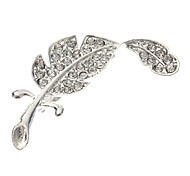 Feather Metal Diamond Brooch