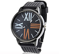 Unisex Brief Silicone Band Analog Quartz Wrist Sport Watch(Black)