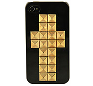 Double Rivets Cross Black Hard Case for iPhone 4/4S