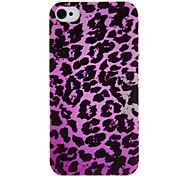 Purple Leopard Pattern Transparent Frame PC Case for iPhone 4/4S