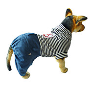 Sailing Stripes Hoodie with Denim Overalls for Dogs (Assorted Colors, XS-XL)