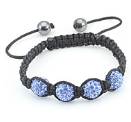 Ceramic Zircon Bead Connected Woven Bracelet(Blue)