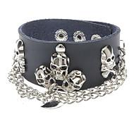 Multi Kito Metal Chain Black Leather Bracelet