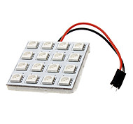 BA9S/Festoon/T10 3W 16x5050SMD 180-190LM Yellow Light LED Car License Plate/Dome/Reading Lamp (12V)