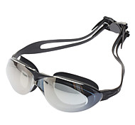 High Quality PC Lens Silicone Strap Swimming Glasses Goggles w/ Carrying Case - Black