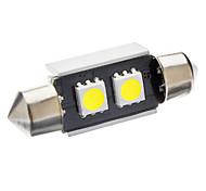 36mm 1W 2-LED 70-80LM 6000-6500K White Light Bulb for Car CANBUS (DC 12V)
