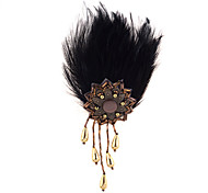 flor liga padrão borlas lureme®vintage broche de penas pretas