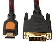1,5 m 5 pies 1080p macho cable HDMI a DVI HDMI estándar de alta velocidad de 24 + 1 macho