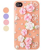 Fai da te Tappeto di fiori Fondello in plastica per il iPhone 4/4S (colori assortiti)