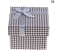 Plaid Lace Bowknot Pattern Ring Box(Assorted Colors)