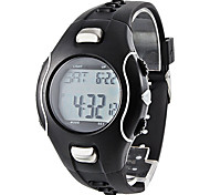 Männer Elektrolumineszenz Design Rubber Digital Automatic Wrist Heart Rate Monitor Watch (Black)