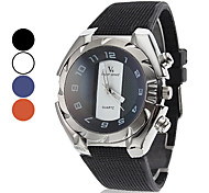 Men's Casual Style Silver Case Black Silicone Band Quartz Wrist Watch (Assorted Colors)