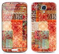 Patrón de la letra frontal y traseras del protector Pegatinas para Samsung i9500 Galaxy S4