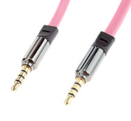 3.5mm Male to Male Audio Connection Cable Pink Golden (1.2m)