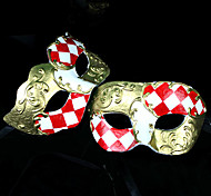 Red and White Damas Jester Harlequin Mask (2 peças)