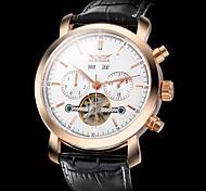Herren Armbanduhr Automatikaufzug Transparentes Ziffernblatt Leder Band Schwarz Marke-