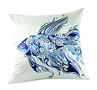 """18"""" Square Ocean Fish Polyester Decorative Pillow Cover"""