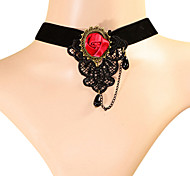 Vintage Hollow Lace Rose Flower Necklace
