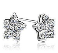 Graceful Sterling Silver With Crystal Flower Shaped Allergy Free Stud Earrings(More Colors)