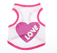 Love Pattern Style Cotton Vest for Dogs (XS, M, Red)