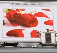 75x45cm Rose Rouge Motif étanche à l'huile imperméable à l'eau sticker mural de cuisine