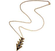 Lureme®Retro Enamel Triangle Pendant Necklace (Random Color)