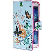 Cerchi e fiori pattern pu custodia in pelle con supporto e fessura per carta per Samsung Galaxy i9500 S4