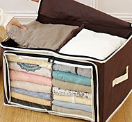 2 Grid Brown Visible Clothes Storage Box (1 Piece)