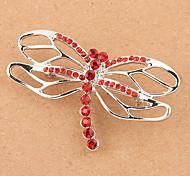 Silver Plated Rhinestone broche de la libélula (color al azar)