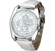 style d'affaires cadran blanc PU bande de cuir montre-bracelet à quartz pour hommes