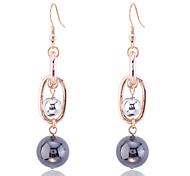 European Style Fashion Pearl Ball Chain Gold Plating Earrings