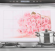 75x45cm Pink Rose Oil-Proof Water-Proof Kitchen Wall Sticker
