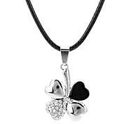Z&X®  Stainless Steel, Titanium Diamond Clover Necklace