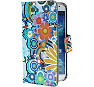 Fiori squisiti e Circles Pattern PU custodia in pelle con supporto e Card Slot per Samsung Galaxy i9500 S4