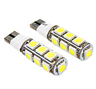 T10 2.5W 13x5050SMD 140-160LM 6000-6500K 2-Mode Luz Blanca Bombilla para coche (12V DC, 2-Pack) LED
