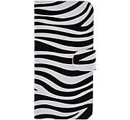 Zebra Pattern Full Body Case with Card Slot and Built-in Matte PC Back Cover for iPhone 5/5S