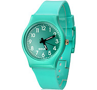 Women's Solid Color Dial Silicone Band Quartz Analog Wrist Watch (Assorted Colors)