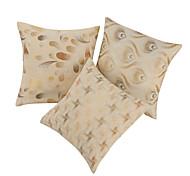 Juego de 3 Jacquard Beige poliéster y algodón almohada cubierta decorativa
