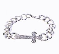 Fashion Rhodium Full Crystals Corss Charm Chain Bracelet
