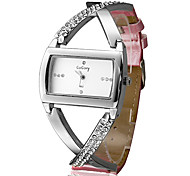 Women's Fashion Cross Case Pink PU Band Quartz Analog Wrist Watch Cool Watches Unique Watches