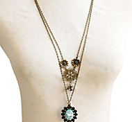 Korean Style Flower Pendant Long Necklace