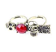 Atemberaubende Paar Retro Skull Ring Rubin Ring