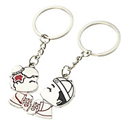 A Pair Wedding Couple Shaped Lovers Keychains